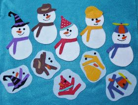This is my first Flannel Friday post--yippee!! Here are two snowmen flannel boards in anticipation of the coming winter...      Five Little...