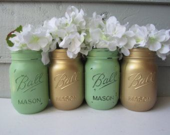 Painted and Distressed Ball Mason Jars- Light Mint Green and Metallic Gold-Set of 4-Flower Vases, Rustic Wedding, Centerpieces