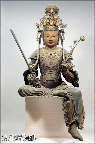 木造騎獅文殊菩薩像