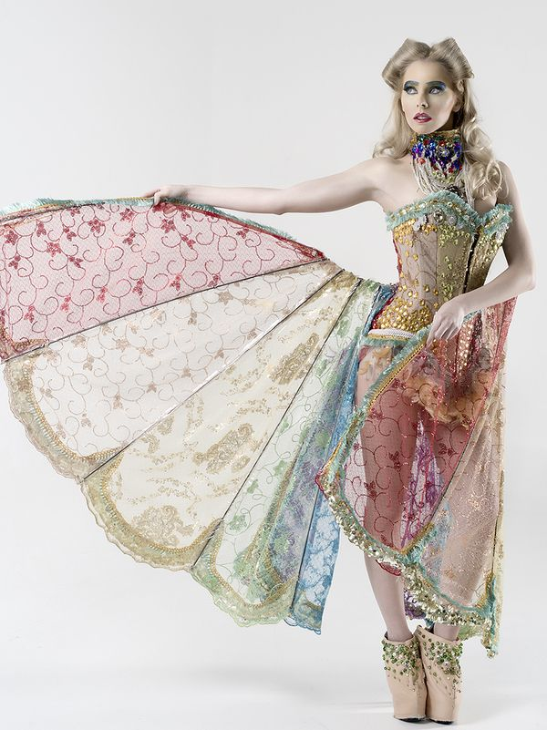 Rebeca Saray winged skirt with pastel colours and gold embellishment pretty burlesque costume