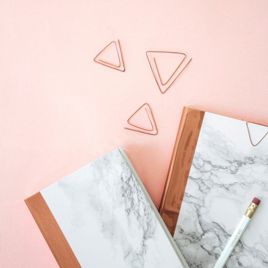 A super simple tutorial to make these stylish notebooks along with copper geometric paperclips to match