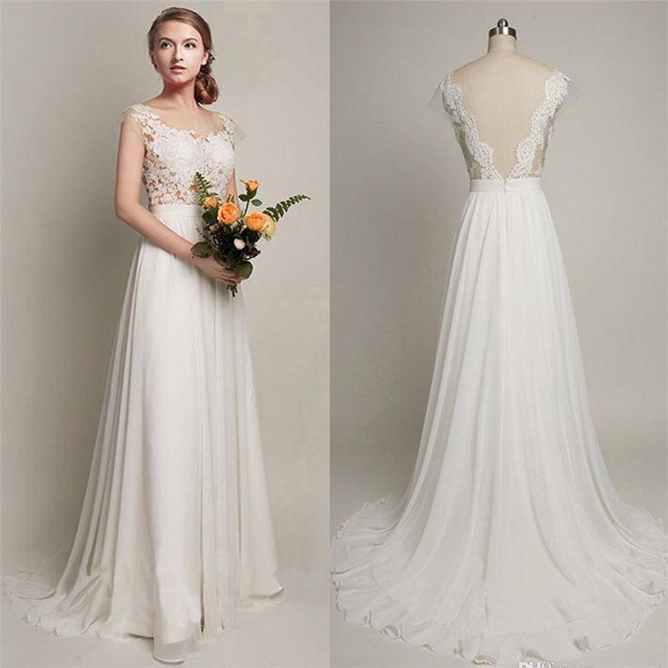 Pure White Cheap Wedding Dress 2017 Lace Chiffon Open Back Bridal Shower Dress