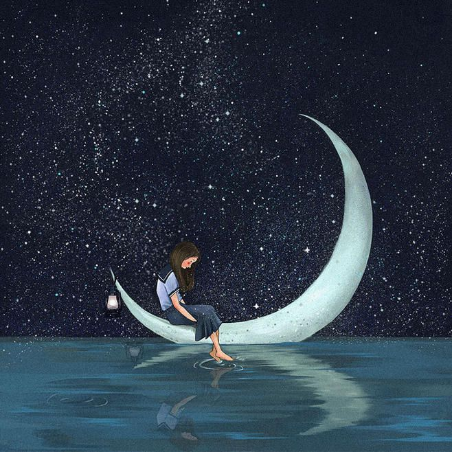 Crescent Moon Boat Art by Lethe Li Xi