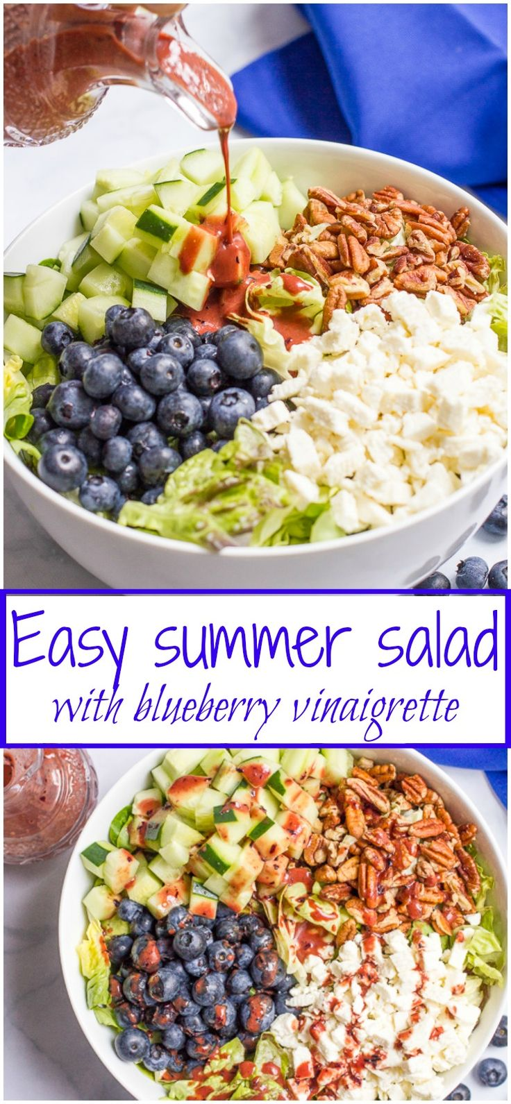 Easy summer side salad with cucumbers, blueberries, pecans and feta cheese, topped with a delicious balsamic blueberry vinaigrette! | FamilyFoodontheTable.com