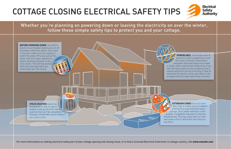 When you're closing your cottage for the season, turn off individual breakers before flipping the main switch. This will help protect your major appliances including your pump and hot water tank when you power back up in the spring. http://www.esasafe.com/consumers/electrical-safety-tips/cottage-safety-tips
