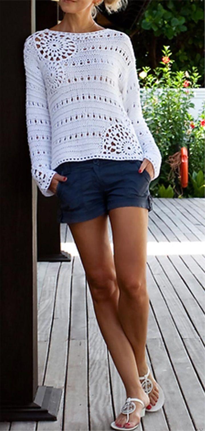 Top Branco de Verão Crochet