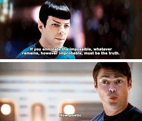 Star Trek: Pinned because it includes good photos of my two favorite characters in nuTrek, Spock (Zachary Quinto) and McCoy (Karl Urban). Also it's funny.