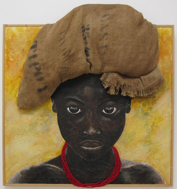 """Opera di Maria Laura Balestra, tecnica mista su tela, titolo """"Aiuti Umanitari""""."""
