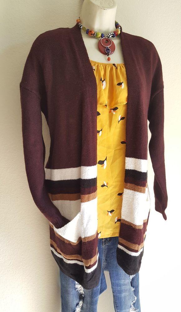 Mod bohemian boho cardigan hippie sweater top L-+Anthropologie earrings