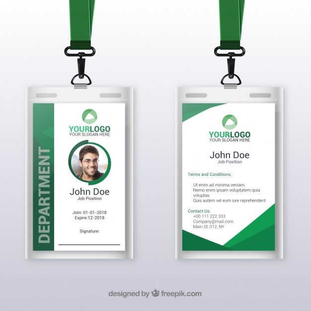 Download Flat Id Card Template With Clasp And Lanyard For Free