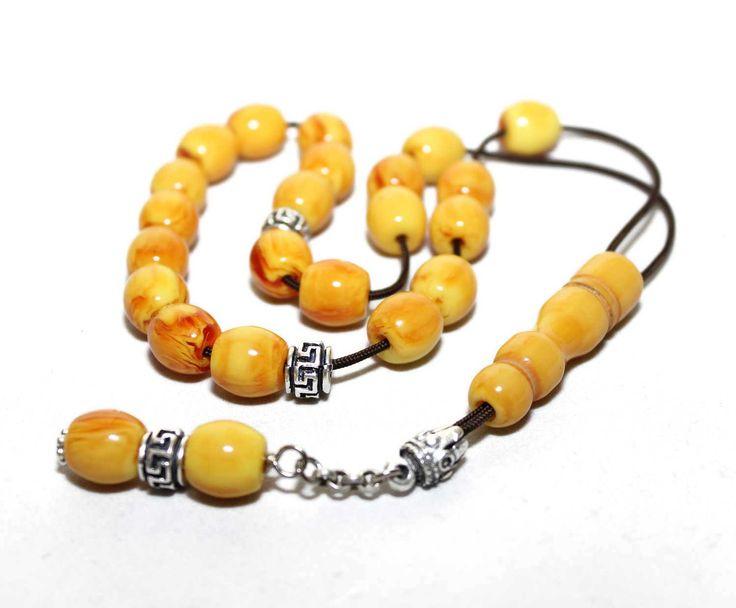 Kahraman Amber color Worry Beads, Handmade Greek Komboloi, Brown cord & Round Barrel Beads, Relaxation, Meditation by AlterDecoCoinsnBeads on Etsy #worrybeads #komboloi #Greece #tasbih #prayerbeads