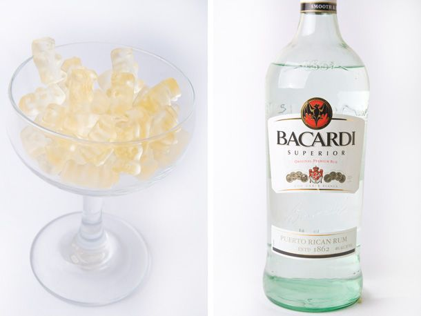 several recipes for Booze-Infused Gummy Bear -- beware, Laughing Squid says they are a little less than a shot apiece
