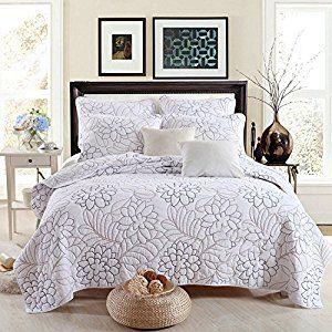 Amazon.com: Best Comforter Set Shylock White Embroidered 3-Piece Cotton Bedspreads Quilts Set Queen: Home & Kitchen