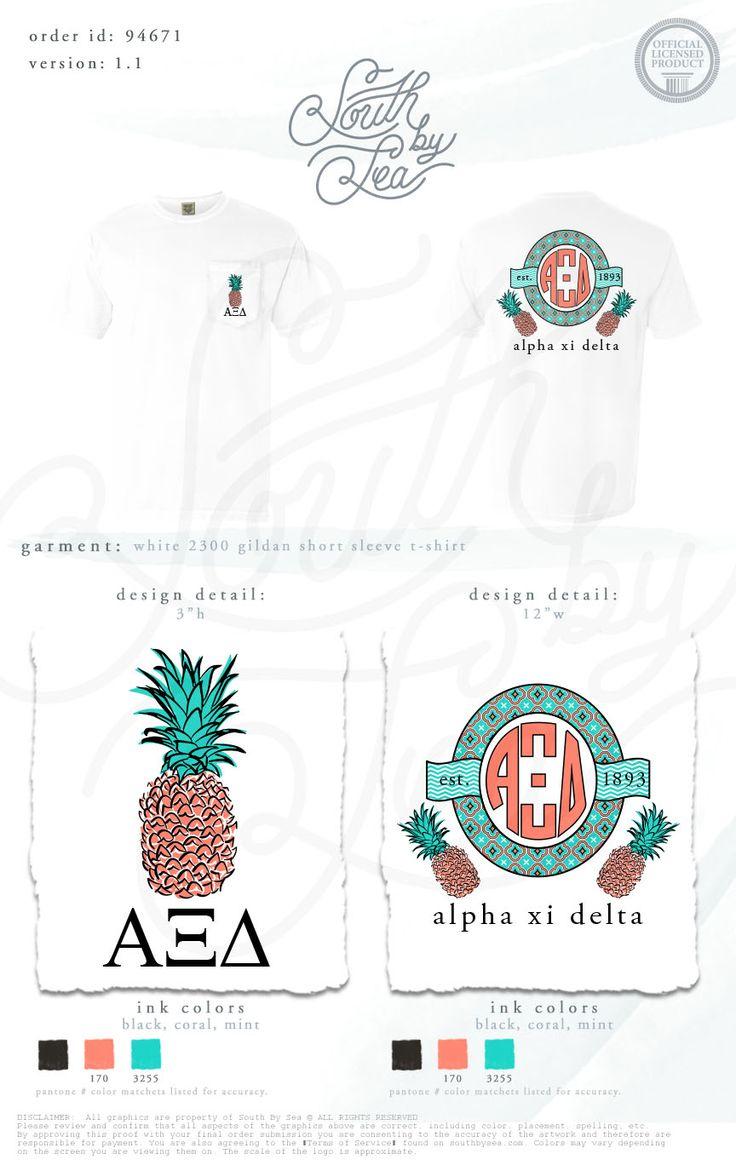 Alpha Xi Delta | Alpha Phi Delta Monogram Design | Sorority Monogram Design | Pineapple Design | Sorority Pineapple Tank | South by Sea | Sorority Shirts | Sorority Tanks | Greek Shirts