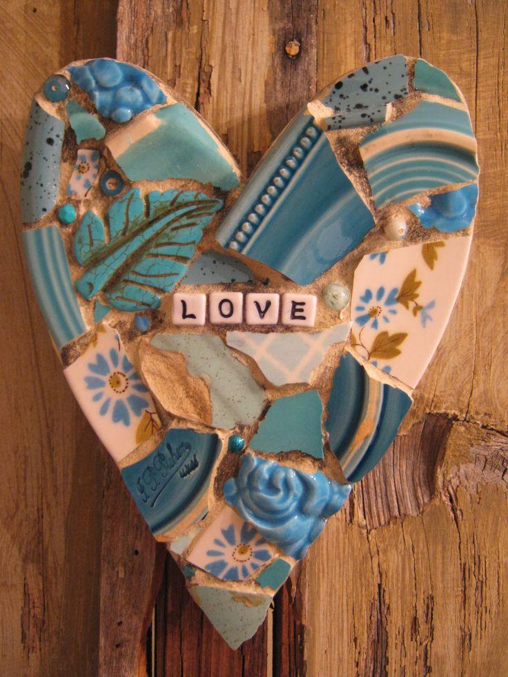 LOVE small mosaic heart in Tiffany blues.