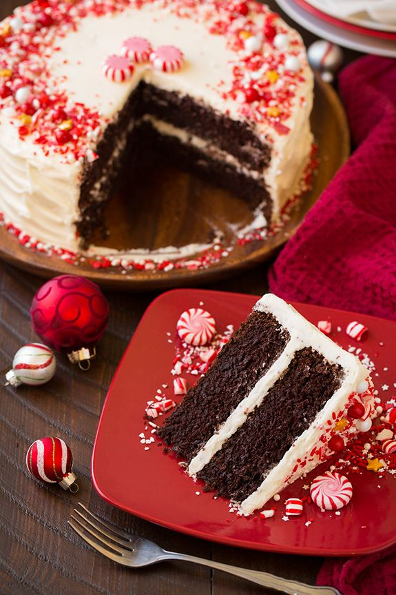 Peppermint Chocolate Cake with Peppermint Buttercream Frosting | Cooking Classy