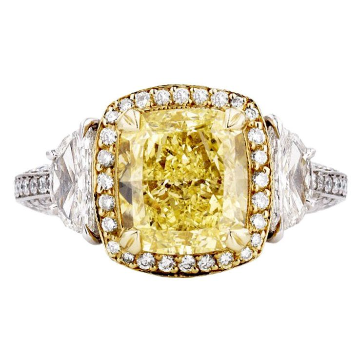 Fancy Yellow 3.15 Carat Diamond Ring | From a unique collection of vintage cocktail rings at https://www.1stdibs.com/jewelry/rings/cocktail-rings/