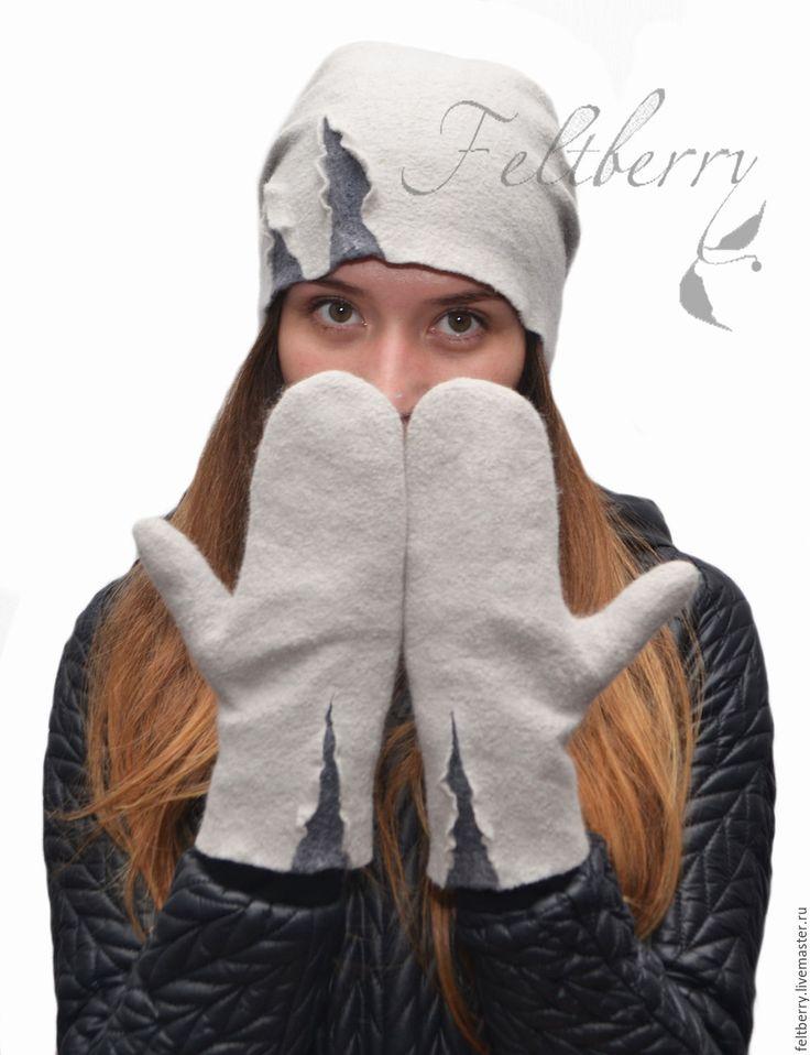 Купить Валяные варежки Сумерки - серый, варежки, рукавицы, варежки женские, Валяние, войлок, фелтинг