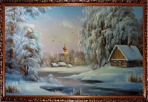Домик в деревне - Зимний пейзаж <- Картины маслом <- Картины - Каталог | Универсальный интернет-магазин подарков и сувениров