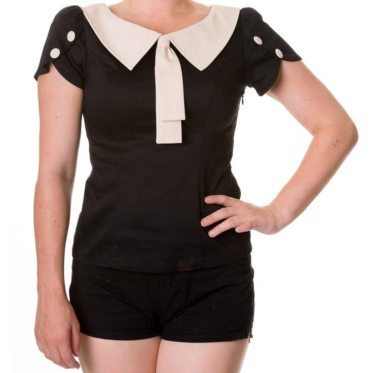 Retro Style dames top met witte kraag zwart - Vintage 50's Rockabilly