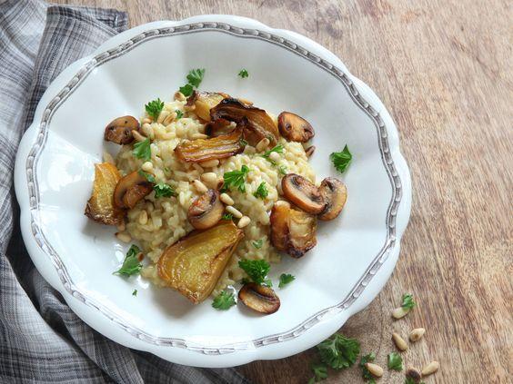 Risotto med ugnsstekta gulbetor och svamp | Recept från Köket.se