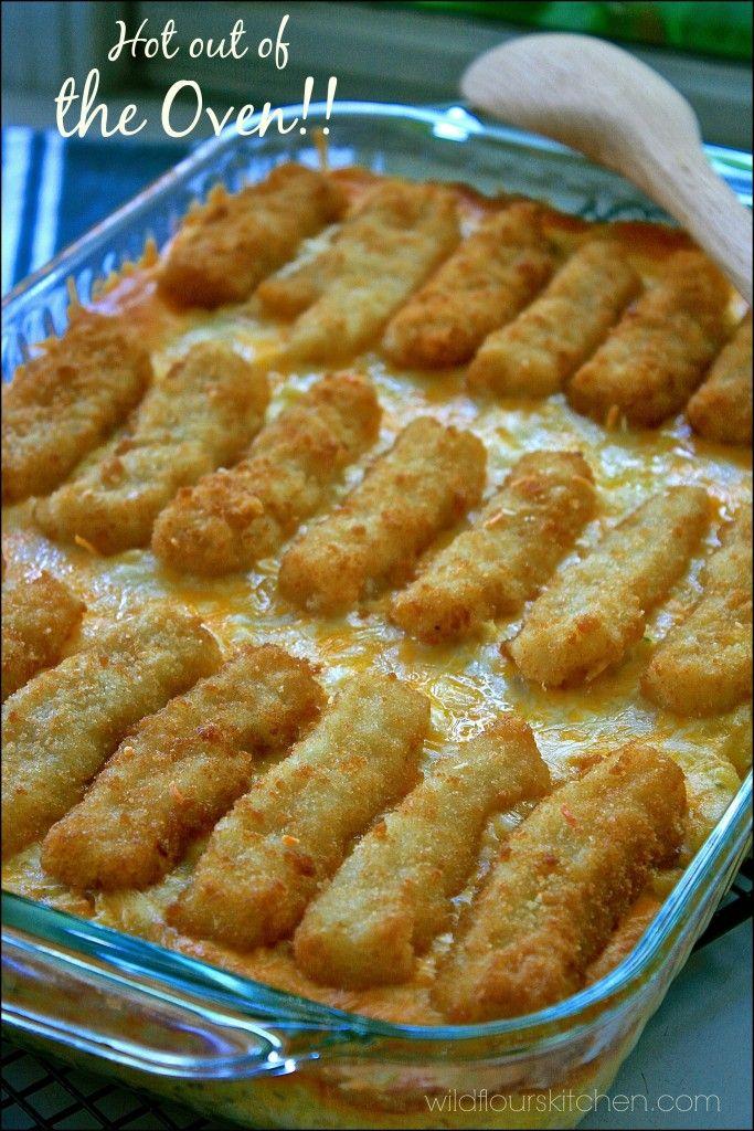 Cheesy weeknight fish stick casserole recipe for Fish casserole recipes