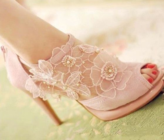 32 Floral Wedding Shoes Ideas For Spring And Summer Nuptials: vintage-inspired pink flower lace applique boots with a peep toe