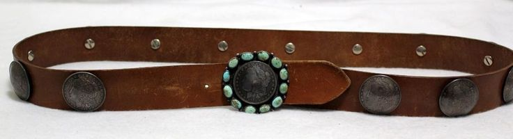 Custom Made Morgan Silver Dollar Coin Concho Belt Turquoise Buckle Leather Brown