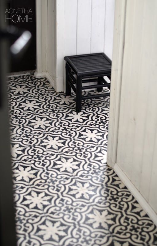 Use bold tile in a transitional space to add new life to a for Beautiful floor designs