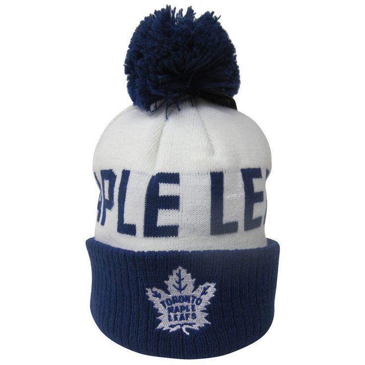 Toronto Maple Leafs Reebok Kids Scripted Cuffed Pom Toque - shop.realsports