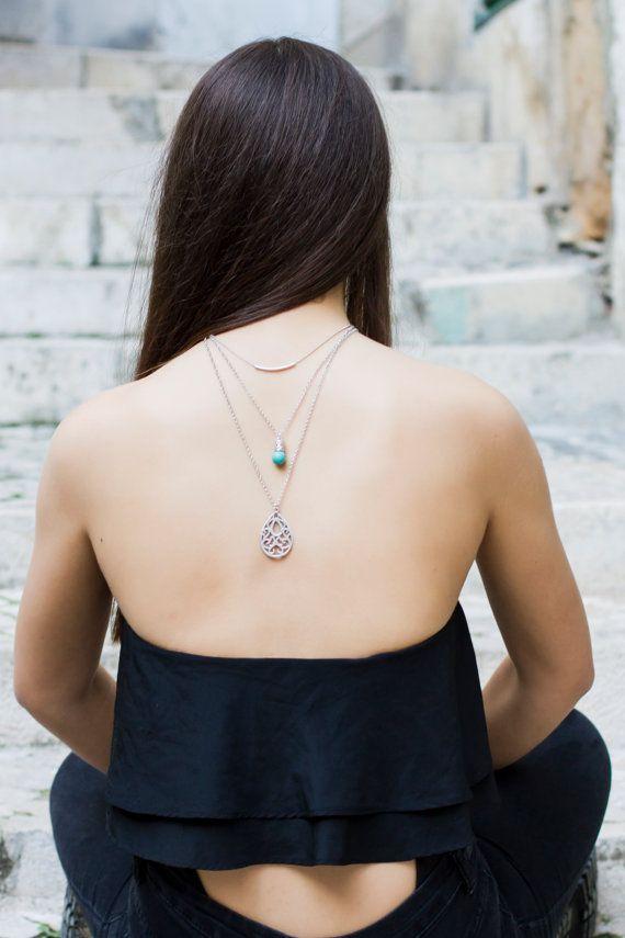 Layered Boho Turquoise Necklace by Hedarth on Etsy