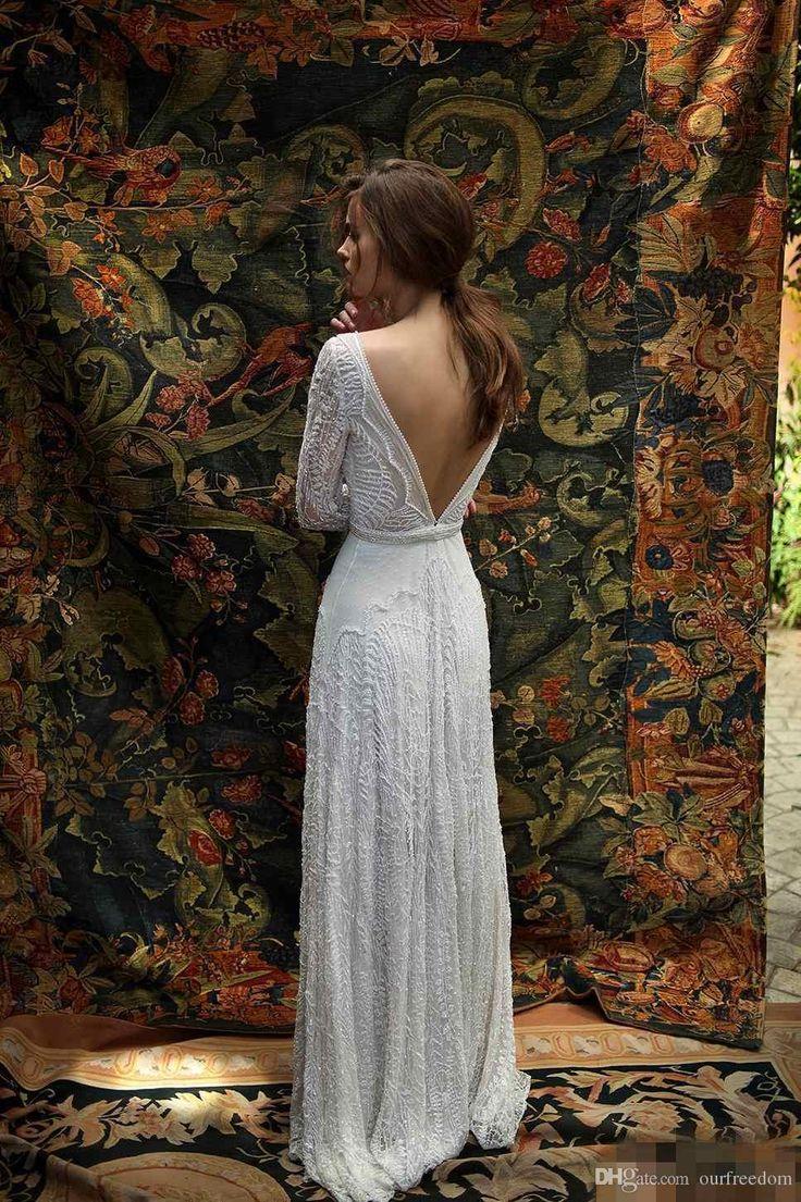 Lihi Hod 2019 Lace Wedding Dresses Deep V Neck Backless Bridal Dress Sweep Train Custom Made Spring Beach Wedding Gowns