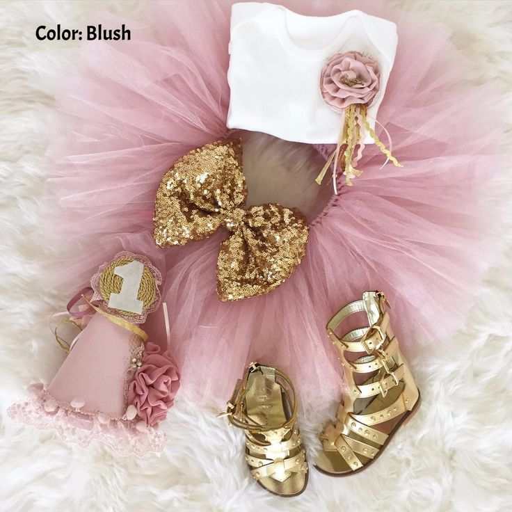 Tutu Birthday Set includes soft cotton onesie, tulle skirt with sequin bow, and matching birthday hat. A perfect tutu set to celebrate your little one's First B