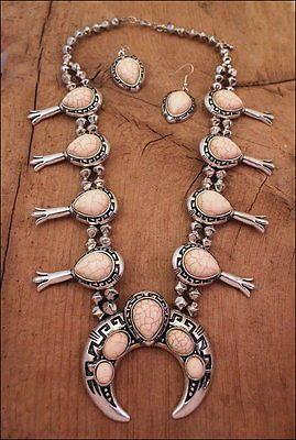 $26.89 on ebay NEW Southwest White Stone Beads SQUASH BLOSSOM NECKLACE Set Fashion Jewelry