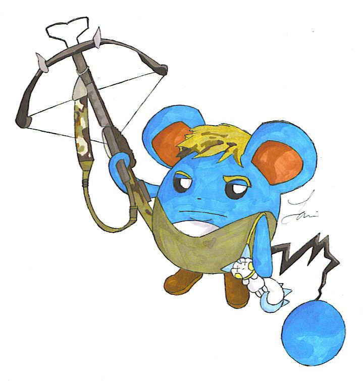 Daryl The Marill: Daryl Dixon as the Pokemon, Marill, with hunting gear and a Pachirisu at his side. Yes he beat an electric type even though he's a water type, that's how awesome he is:D
