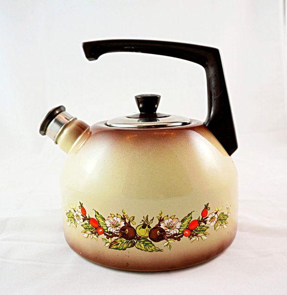 Caldera flores marrón, caldera de esmalte, esmalte tetera, utensilios de cocina Vintage Vintage tetera. Esmalte Vintage hervidor de té Vintage