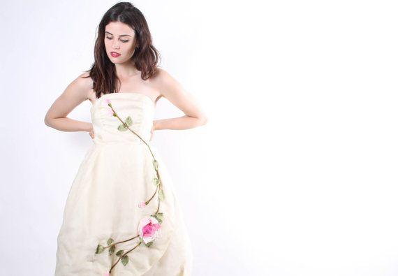 Vintage des années 1950 sans bretelles Rose Rose robe de mariée - 50 s courte robe de mariée - robe Vintage - la robe Rose de bruyère - 6176