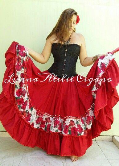 Saia cigana em tafetá com devorê floral A venda na fanpage www.facebook.com/ateliecigano