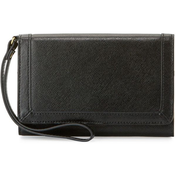 Neiman Marcus Leather Cell Phone Wristlet Wallet (€80) ❤ liked on Polyvore featuring bags, wallets, black, cell phone wristlet, leather credit card holder wallet, leather wristlet wallet, leather cell phone wristlet and cell phone wristlet wallet