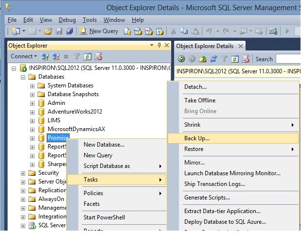 How to create a simple database backup using SQL Server Management Studio (SSMS)