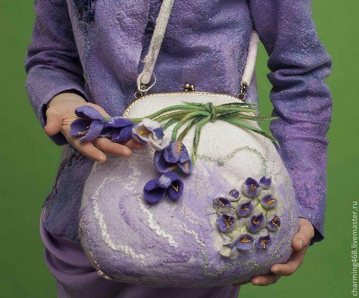 """Купить Сумка """"Мои любимые цветы"""" - бледно-сиреневый, цветочный, сумка, сумочка, женская сумка ♡"""