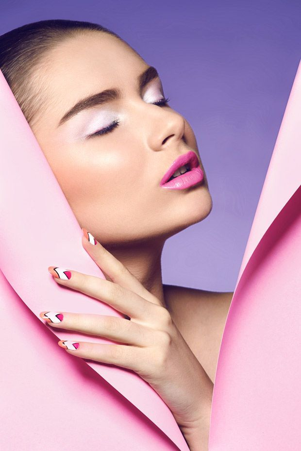 JOY Magazine's Attractive Pattern Feature Highlights Pastel Makeup Looks #beauty trendhunter.com