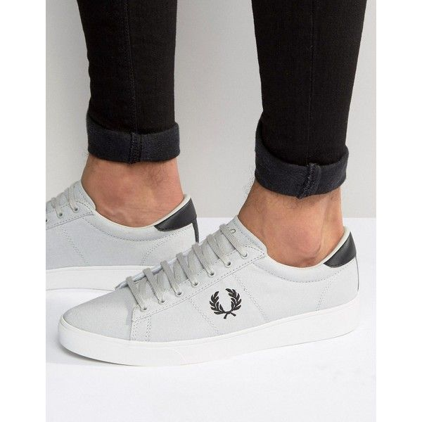 Fred Perry Spencer Canvas Trainers ($68) ❤ liked on Polyvore featuring men's fashion, men's shoes, men's sneakers, grey, mens gray dress shoes, mens lace up shoes, fred perry mens shoes, mens canvas sneakers and mens grey shoes
