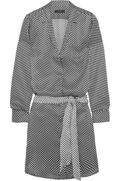 Black and white silk-satin Button fastenings through front 100% silk Dry clean Imported