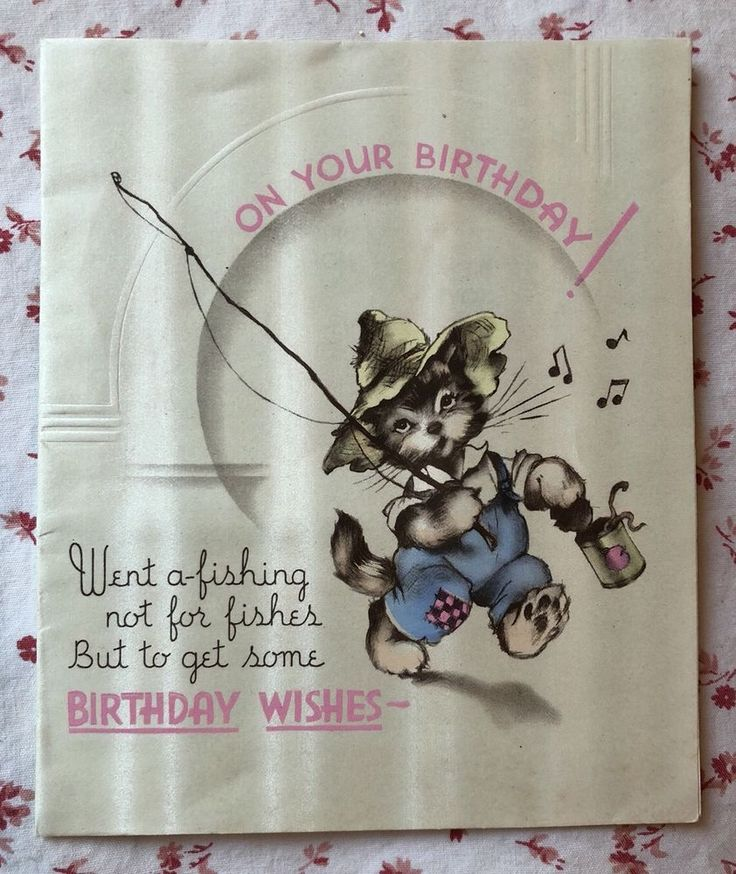 Vintage 1930s Birthday Greeting Card Anthropomorphic Cat in Hat Going Fishing