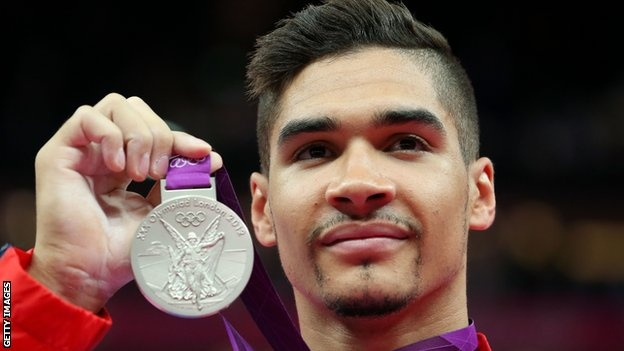 Louis Smith with his silver medal for mens Pommel Horse - he tied with the Hungarian on overall points but didnt get Gold due to the other guys marginally higher execution - doh!