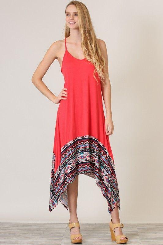 Kelly Brett Boutique - Flared Aztec Maxi Dress Coral, $18.99 (https://www.kellybrettboutique.com/flared-aztec-maxi-dress-coral/)