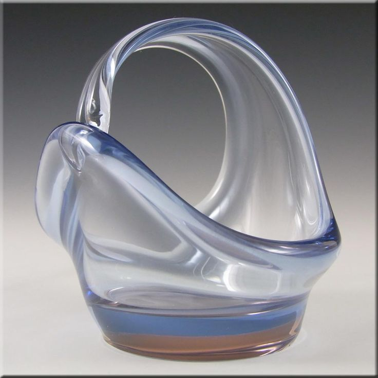 Skrdlovice Czech Blue + Pink Glass Sculpture Bowl - £19.99