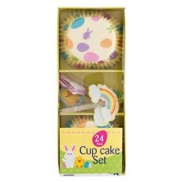 #poundlandeaster Bake your cupcakes in these Easter themed cupcake cases. Each kit contains 24 pieces.