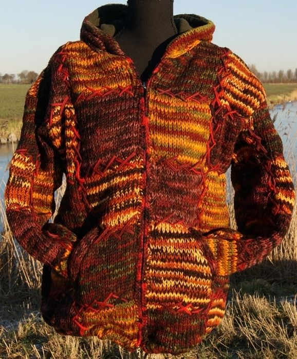 Wollen vest in mooie bruine tinten  L/XL